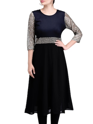 Black Georgette Brocade Flared Kurta