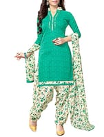 green patiyala printed unstitched suit -  online shopping for Unstitched Suits
