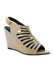 beige synthetic back strap wedges -  online shopping for wedges