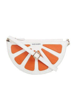 orange synthetic leather sling bag -  online shopping for sling bags