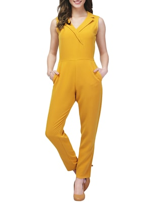 yellow polyester full leg  jumpsuit