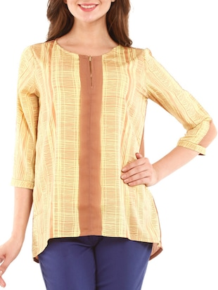 Yellow and Mustard Printed Top