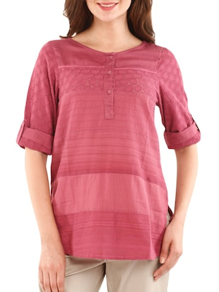 Solid Pink Cotton Top with Cutwork