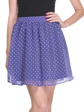Blue Poly Georgette Printed Skirt - By
