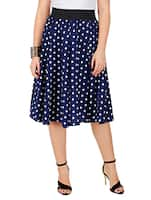 navy blue printed crepe flared skirt -  online shopping for Skirts