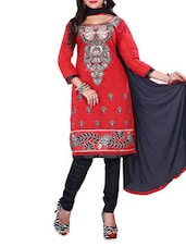 Red And Black Embroidered Chanderi Cotton Unstitched Salwar Suit Set - By