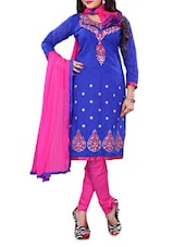 Blue Embroidered Chanderi Cotton Unstitched Salwar Suit Set - By