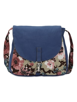 multi colored cotton floral printed sling bag