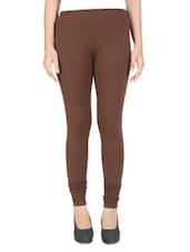 Dark Brown Cotton Lycra Leggings - By
