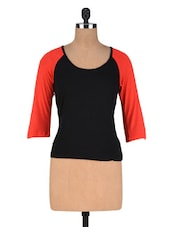 Black And Red Reglan Top - By