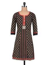 Black Cotton Front Button Jaipuri Kurti - By