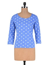 Light Blue And White Cotton Knit Polka Dots Print Top - By