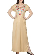 beige satin embroidered gown -  online shopping for Gowns & Kimonos