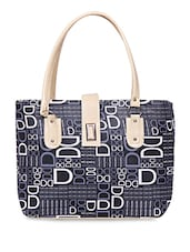 Black Leatherette Printed Handbag - By