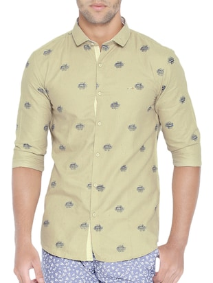 olive green cotton printed casual shirt