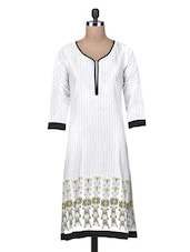 White Poly Crepe Printed Slim Fit Kurta - By