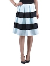 Blue Poly Crepe Flared Skirt - By