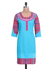 Chevron Printed Light Blue Cotton Kurta - By