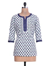 Printed White And Blue Cotton Short Kurta - By