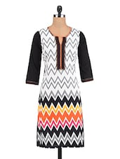 Off White Cotton Embroidered Printed Kurti - By