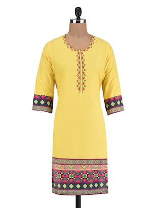 Yellow Cotton Embroidered Printed Kurti