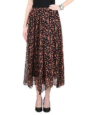 Red And Pink Flower Printed Poly Chiffon Skirt - By