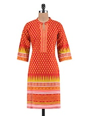 Red Cotton Embroidered Printed Kurti - By