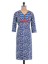 Blue Cotton Embroidered Printed Kurti - By