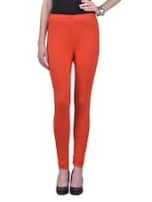 Orange Viscose Lycra Leggings - By