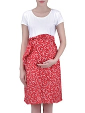 White And Red Knitted Cotton Rayon Printed Dress - By