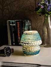 White And Blue Mosaic Glass Table Lamp - By