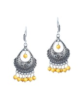 Yellow Silver Plated Drop Earring - By