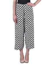 White And Black Rayon Printed Palazzo - By