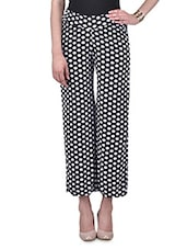 Black And White Polka Dots Print Palazzo - By