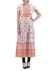 Offwhite And Orange Cotton Printed Kurta - By