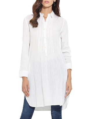 white cotton regular tunic -  online shopping for Tunics