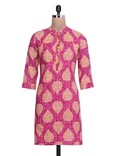 Pink And Beige Cotton Printed Kurti - By