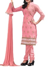 Baby Pink Embroidered Chanderi Cotton Unstitched Suit Set - By