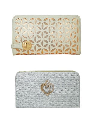 white synthetic leather clutch