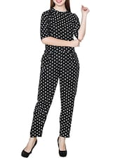 black polka dots printed crepe jumpsuit -  online shopping for Jumpsuits