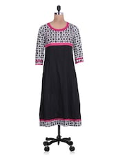 Printed Black Cotton Anarkali Kurta - By