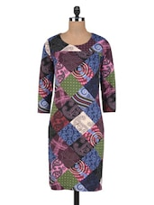 Multicoloured Cotton Knit Printed Dress - By