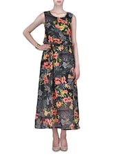 Black Printed Georgette Maxi Dress - By