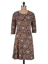 Brown Cotton Knit Printed Dress - By