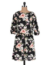 Black Polycrepe Floral Print Dress - By