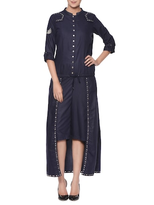 Navy blue embroidered culottes dress