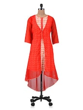 Orange Georgette Printed Kurta - By