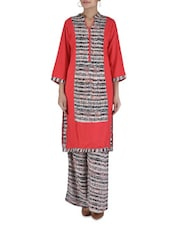 Red Cotton Printed Kurta With Palazzo - By