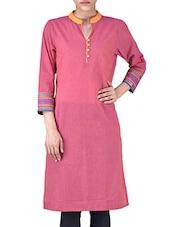 Purple Manglagiri Cotton Solids Three Quarter Sleeves Kurti - By