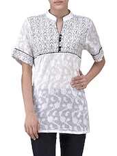 Multi-coloured Cotton Jacquard Printed Short Sleeves Kurti - By
